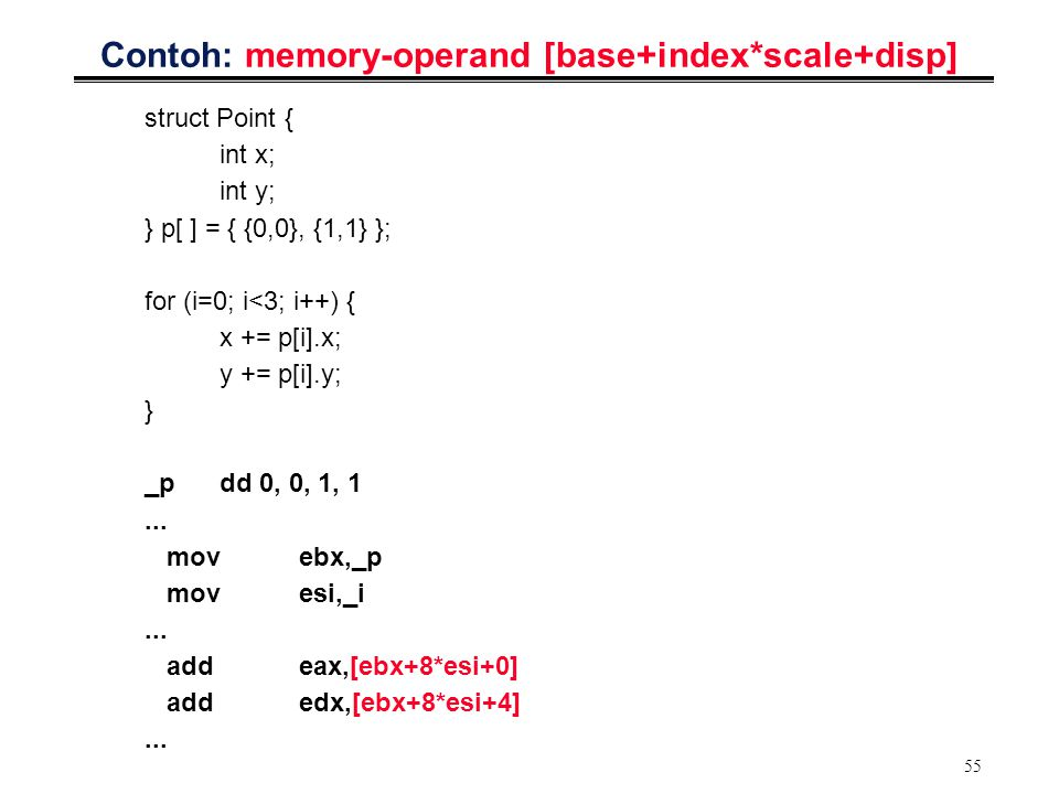 Contoh: memory-operand [base+index*scale+disp]